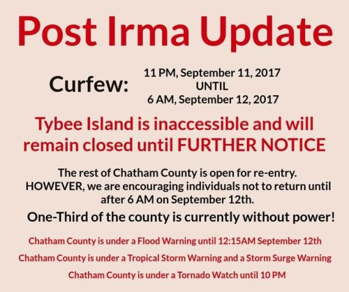 Tybee Island closed Sept 11